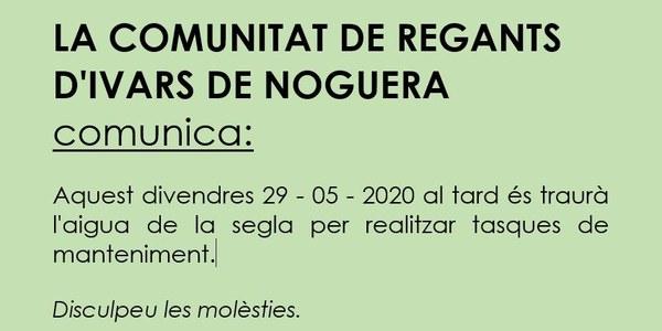LA COMUNITAT DE REGANTS D'IVARS DE NOGUERA COMUNICA: