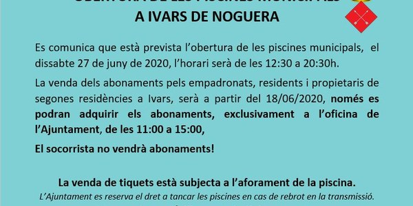 PISCINES MUNICIPALS D'IVARS DE NOGUERA