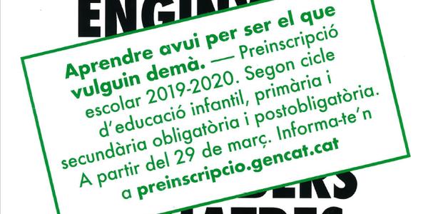 PREINSCRIPCIÓ ESCOLES A PARTIR DEL 29 DE MARÇ DE 2019