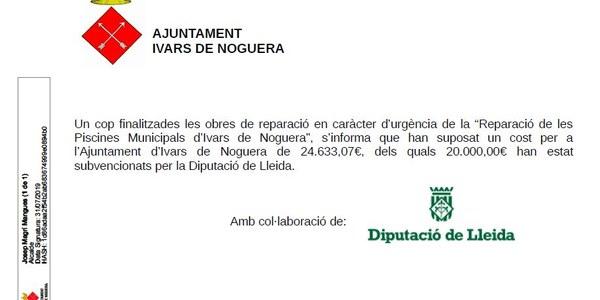 REPARACIÓ DE LES PISCINES MUNICIPALS (Subvencionat per la Diputació)
