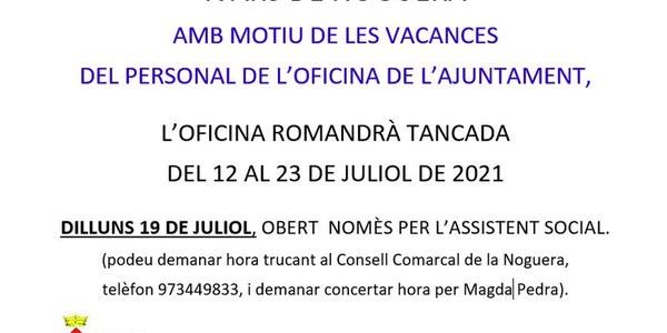 VACANCES DEL PERSONAL DE L'OFICINA DE L'AJUNTAMENT D'IVARS DE NOGUERA